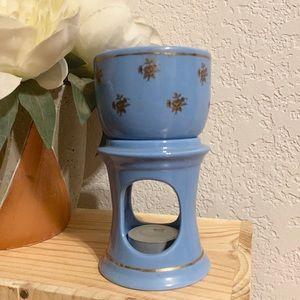 Vintage Blue & Gold Rose Candle Wax Melter